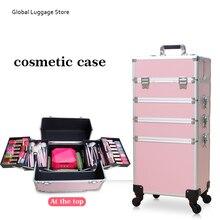 Sacs cosmétiques à roulettes pour femmes, boîte à outils de maquillage, boîte de beauté détachable et pliable, sac de voyage, valise de bagage roulante, nouvelle collection