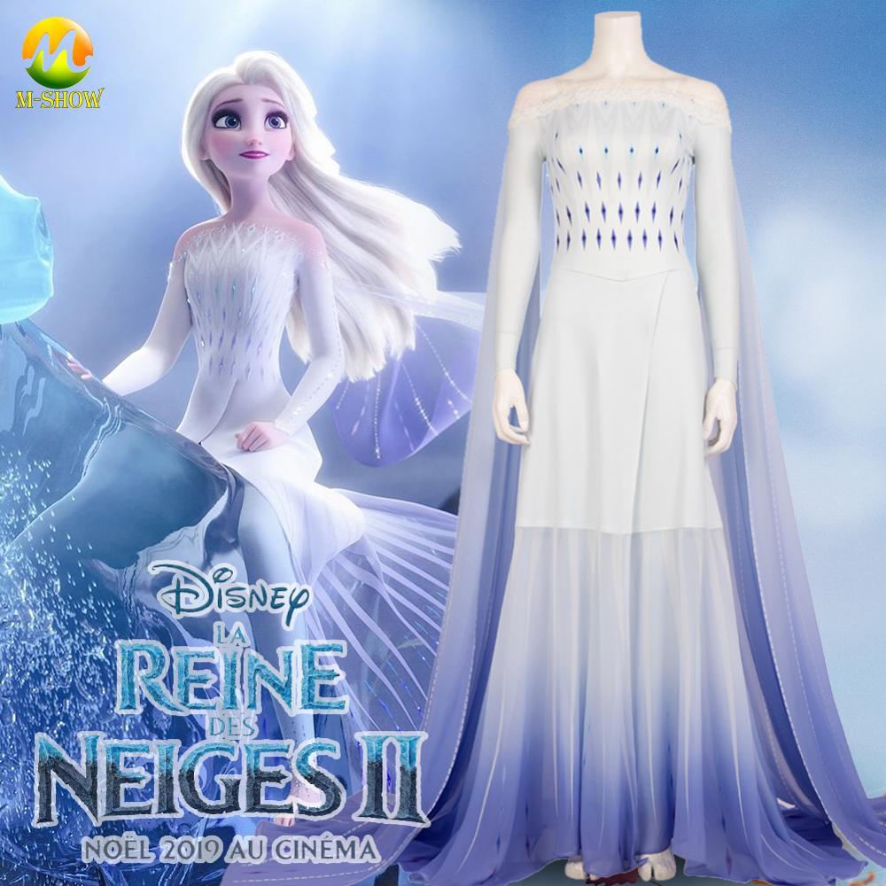 2020 Anime Cos Elsa Princess Dress Girl Cosplay Costume Anna Elsa White Dress Halloween Costume for Adult Women Kids Custom Made