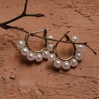 u magical temperament simulation pearl beaded hoop earrings for women textured gold metallic earrings jewelry accessories