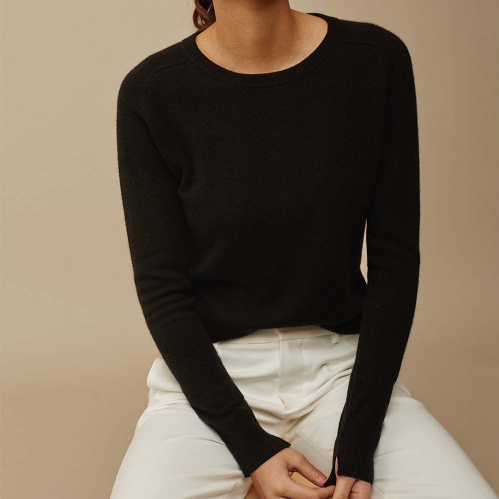 100% Cashmere women's sweater, high quality knitted pullover, warm black round neck women's, 2021 cheap top enlarge