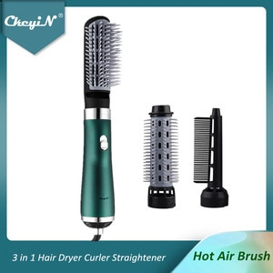 CkeyiN Ionic Hair Dryer Brush 3 in 1 Hot Air Blow Dryers Negative Ion Hair Curler Straightener Comb Volumizer 3 Temperatures 48