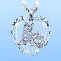 В форме сердца из белого стекла с украшением в виде кристаллов с рисунком кота кулон ожерелье для женщин ожерелье мода животных бабочка акс...