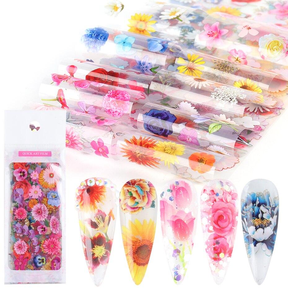 10 pièces/ensemble fleur séchée série ongles transfert feuilles décorations Rose tournesol Nail Art transfert autocollant décalque accessoires GL8202