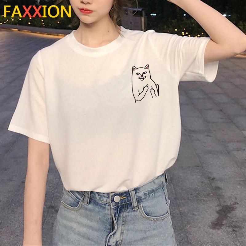2020 verano Kawaii gato gráfico camiseta mujeres Harajuku Linda camiseta divertida historieta estética 90s camiseta moda Top Camisetas Mujer