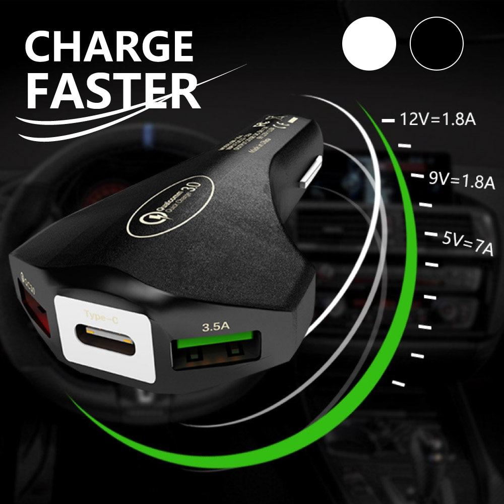 Carregador duplo usb do carro carga rápida qc 3.0 tipo c rápido carregadores do telefone móvel para samsung xiaomi iphone huawei carro-carregador
