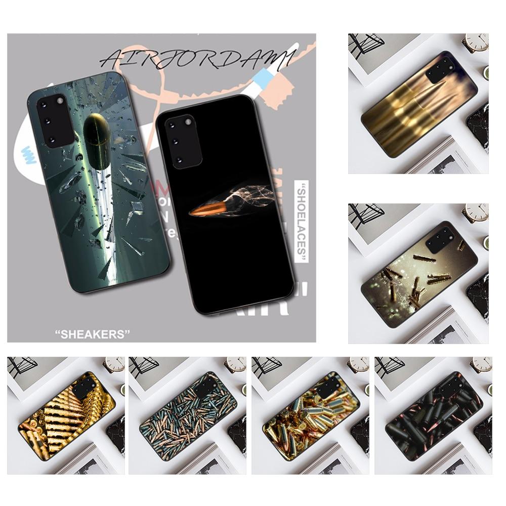 NBDRUICAI Military Gun Bullets Black TPU Soft Rubber Phone Cover for Samsung S20 plus Ultra S6 S7 edge S8 S9 plus S10 5G