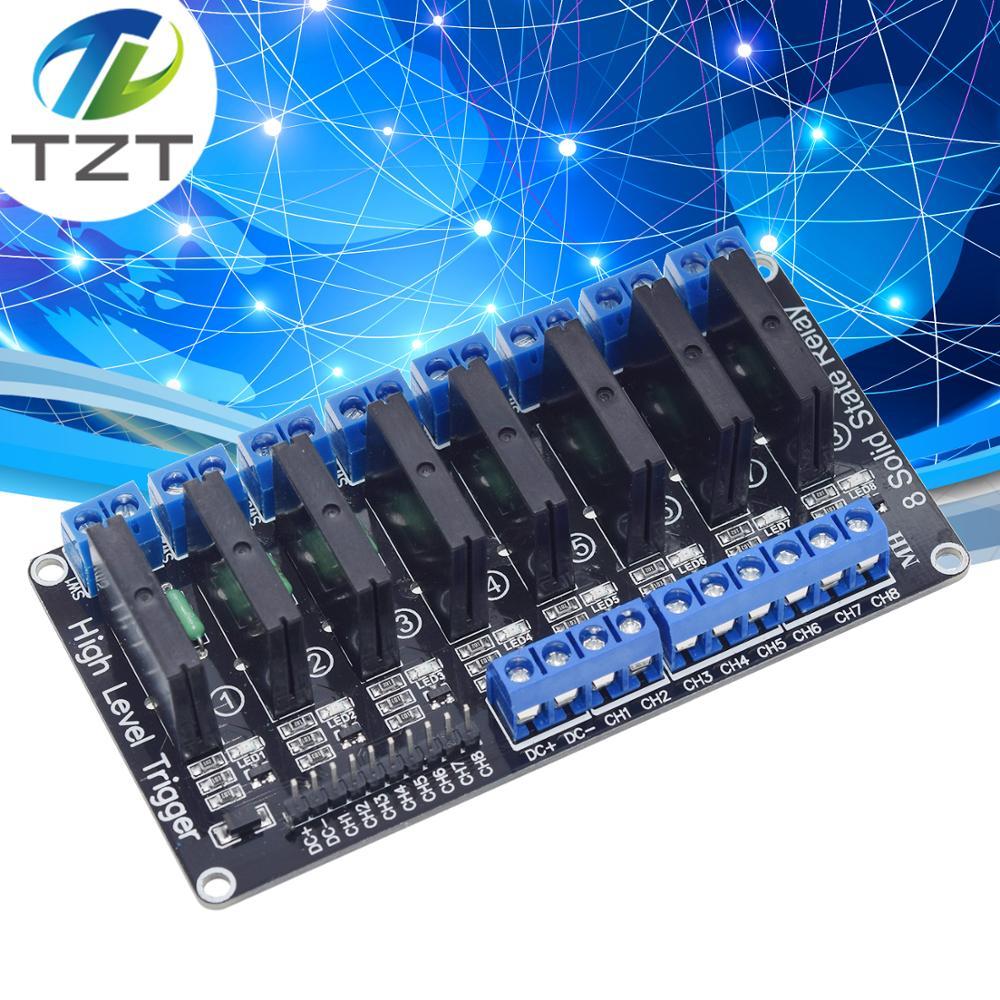8 kanal 5V DC Relais Modul Solid State High low Level SSR AVR DSP für Arduino