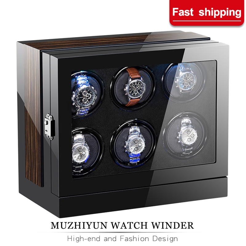Automatic Watch Winder Box Case Holder Mechanical Watch Display Organizer Luxury Japanese Motor Shaker High Gloss PU Finish