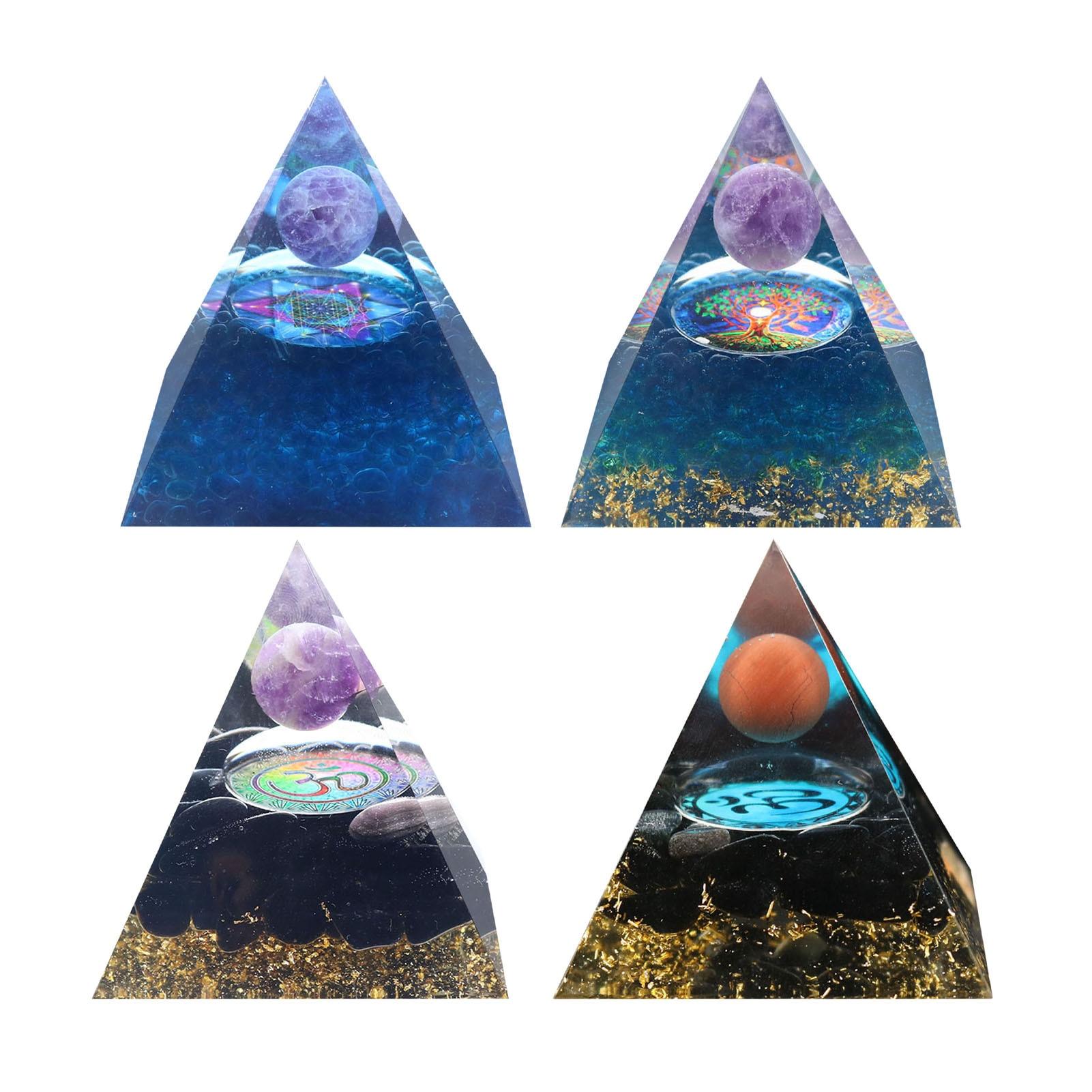 Orgonita-Pirámide de amatista, esfera de Cristal con obsidiana, piedra de Cristal Natural,...