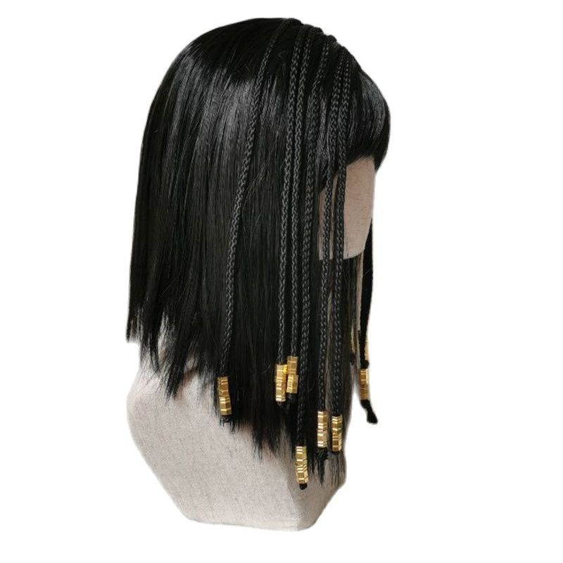 Egyptian Cleopatra Black Braid Synthetic Hair Halloween Party Carnival Cosplay Hair Wigs + a wig cap