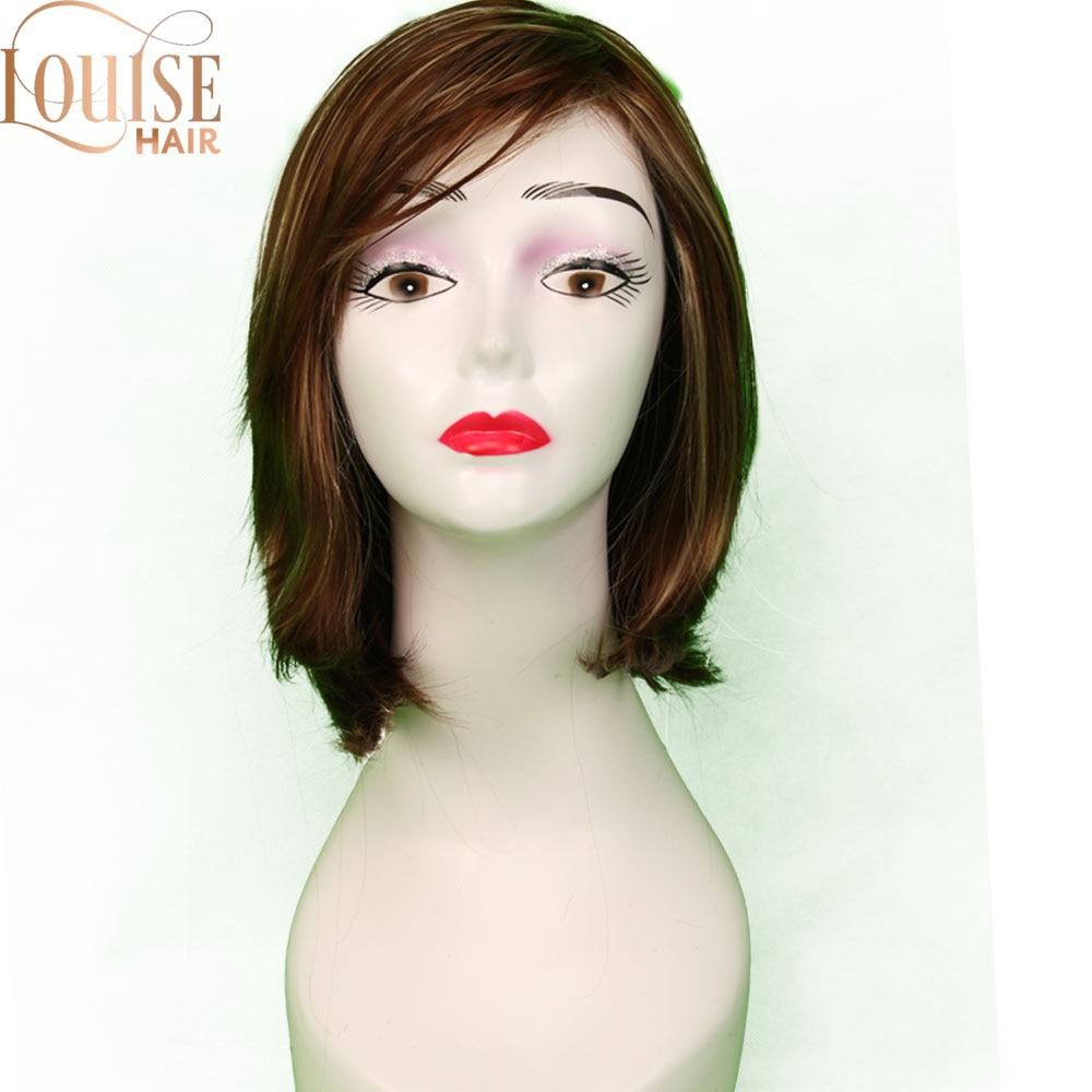 Louise brown e loira perucas curtas bob estilo reto sintético preto peruca feminina com franja 12 polegadas de cabelo macio peruca loira