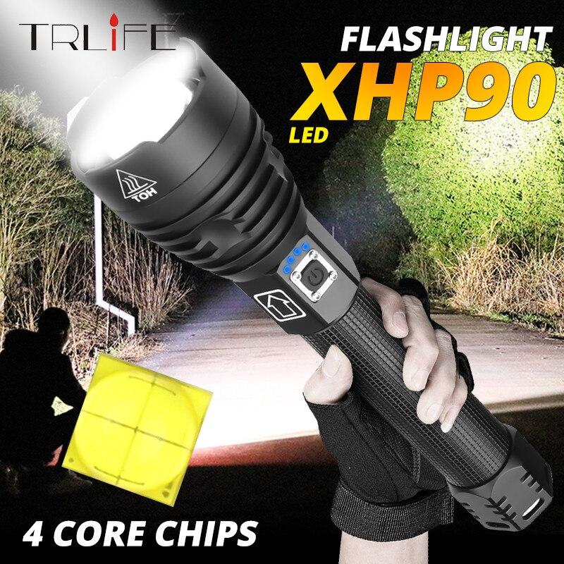 XLamp XHP90 La linterna Led con zoom Usb más potente Xhp70.2 linterna táctica de Flash con batería 26650 o 18650 para hunt