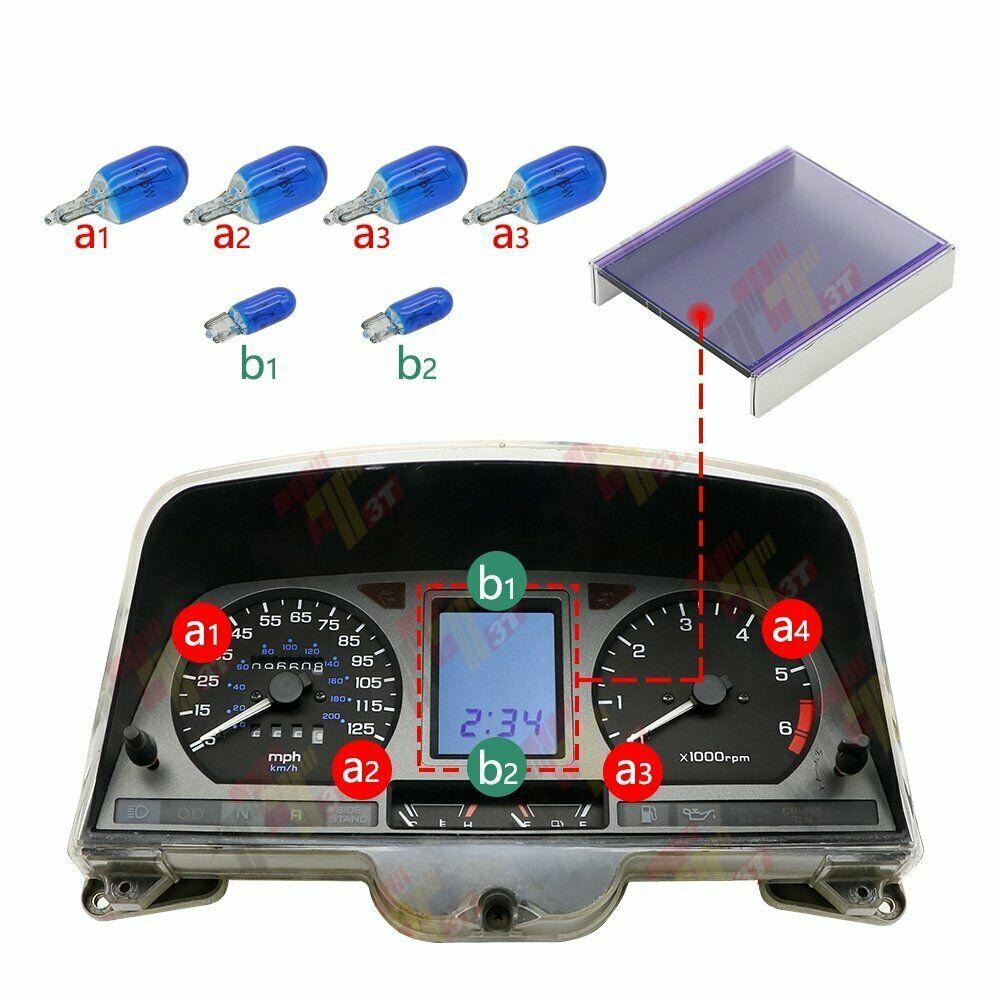 شاشة لوحة القيادة LCD مع مجموعة لمبة زرقاء ، لهوندا جولدوينج GL1500 ، مقياس الكتلة 1988-2000