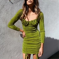 qicius green ruffle dress women long sleeve autumn clothing square collar shirring bandage mini dress vetement femme 2021