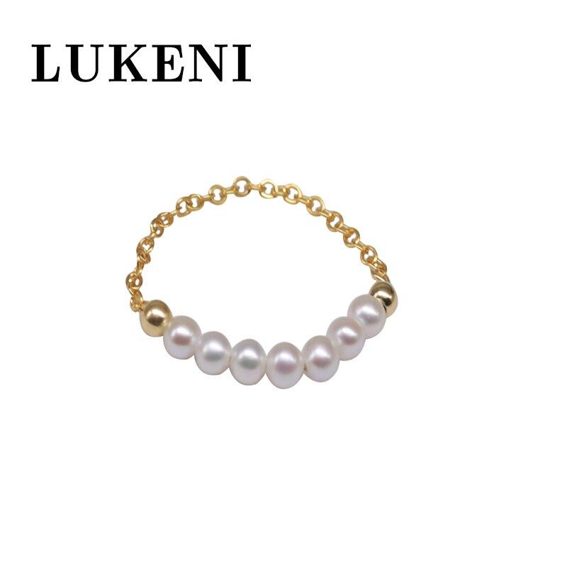 Haute qualité bague femme bijoux blanc perle naturelle ne se décolore pas doux anneau tempérament frais 14k or gissé Simple Mini anneau