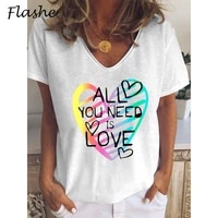 free postage plus womens love letter printing casual t shirt womens summer loose cool t shirt v neck cute girl t shirt