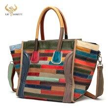New Trend Multi-Color Original Leather Brand Ladies Patchwork Big Shopper Handbag Shoulder bag Women