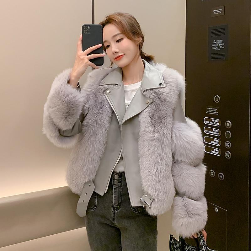 Haining 2020 Women's New Imitation Fox Fur Coat Female Motorcycle Clothing Fashion Korean Zipper Imitation Fur Outwear Women B17