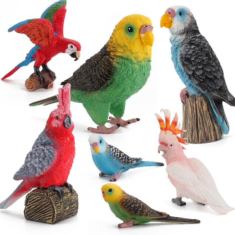 Simulation Bird Models Budgerigar Cockatoo Macaw Parrot Simulated Birds Action Figures PVC Figurine Toys For Kids Education Gift
