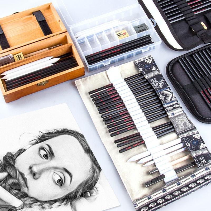 uni 9800 set drawing pencil drawing sketch pencil art wood pencil Sketch Pencil Set Professional Sketching Drawing Kit Wood Pencil Pencil Bags For Painter School Students Sketching Art Supplies