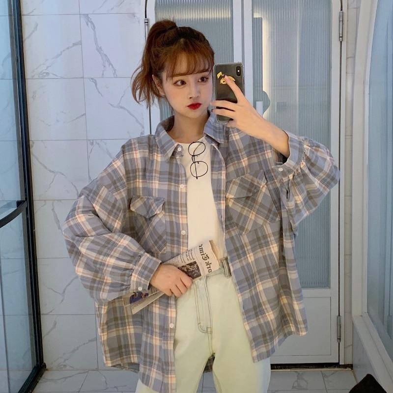 Salt Girl's Loose Plaid Shirt Women's Spring 2021 New Lazy Style Chic Student Long Sleeve Shirt Jack