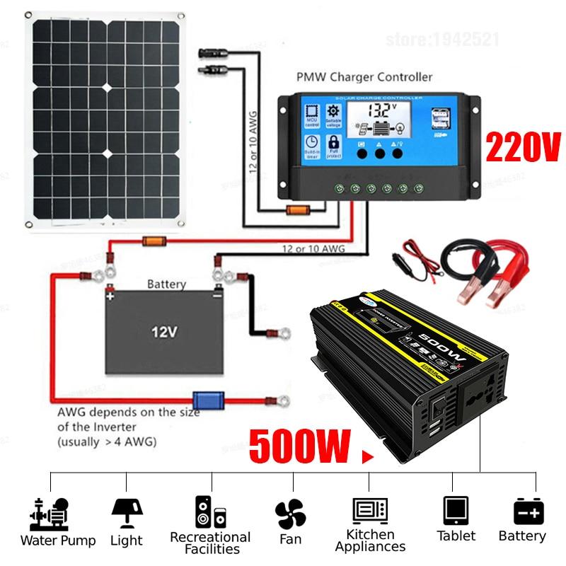 18W Solar Panel System Set 220V Power Generation Battery Charge USB 500W Inverter DC 12V AC 30A Controller Home Kit Complete