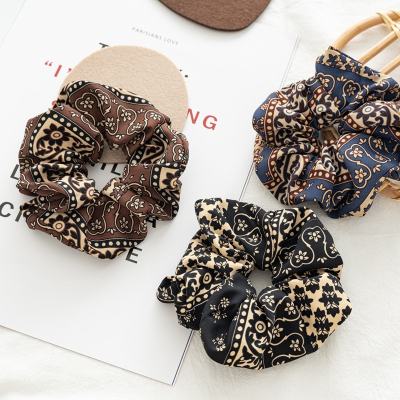 Large Size Bohemia Scrunchies Boutique Fluffy Hair Ties For Women Gypsy Style Retro Hair Scrunchy Elastic Hair Bands