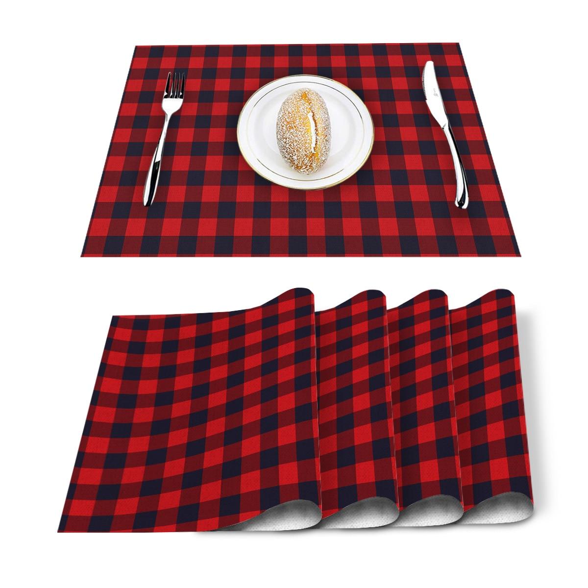 Mantel de lino de algodón lavable a cuadros de búfalo Rojo Negro mantel rectangular resistente al calor