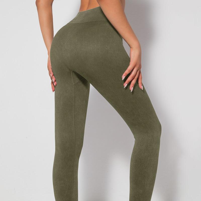 Pantalones Deportivos De Color Sólido párr Mujer De Mallas arriba De Cintura Alta Sin Costuras Para Gimnasio y Ciclismo
