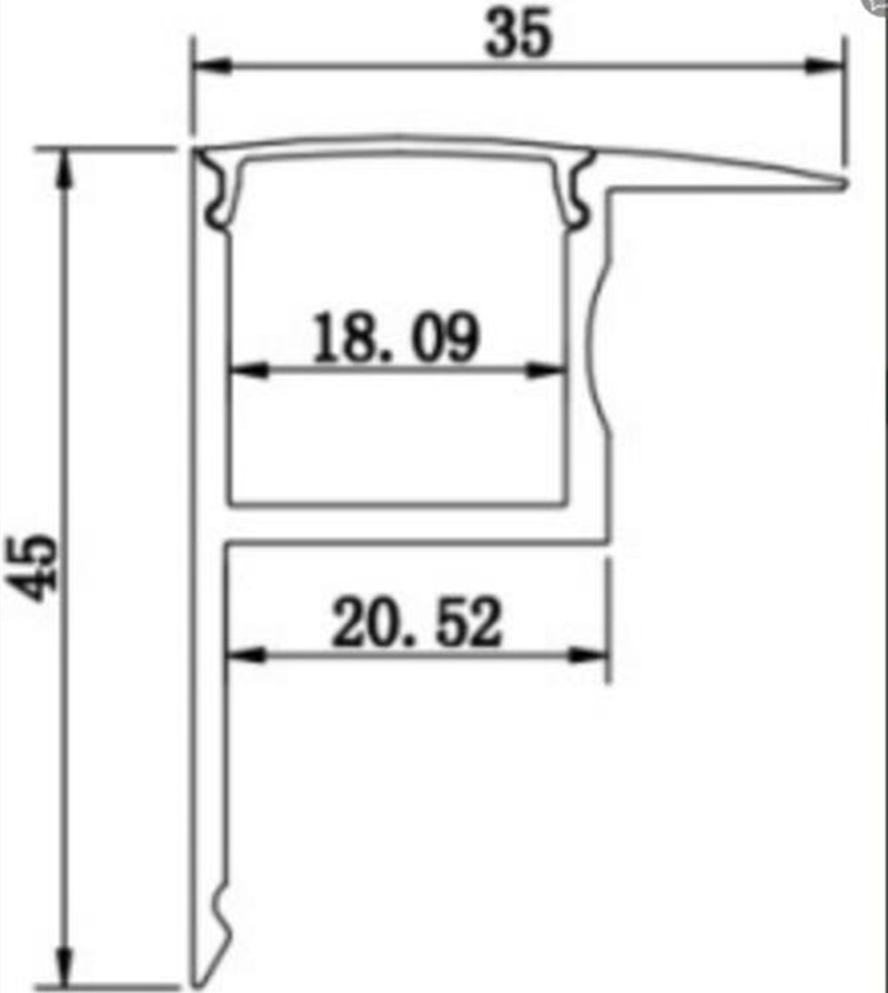 Алюминиевый профиль, 1 м/шт., ступенчатый светильник для лестницы, Светодиодная лента, кинотеатр, алюминиевый ступенчатый светильник, алюмин...