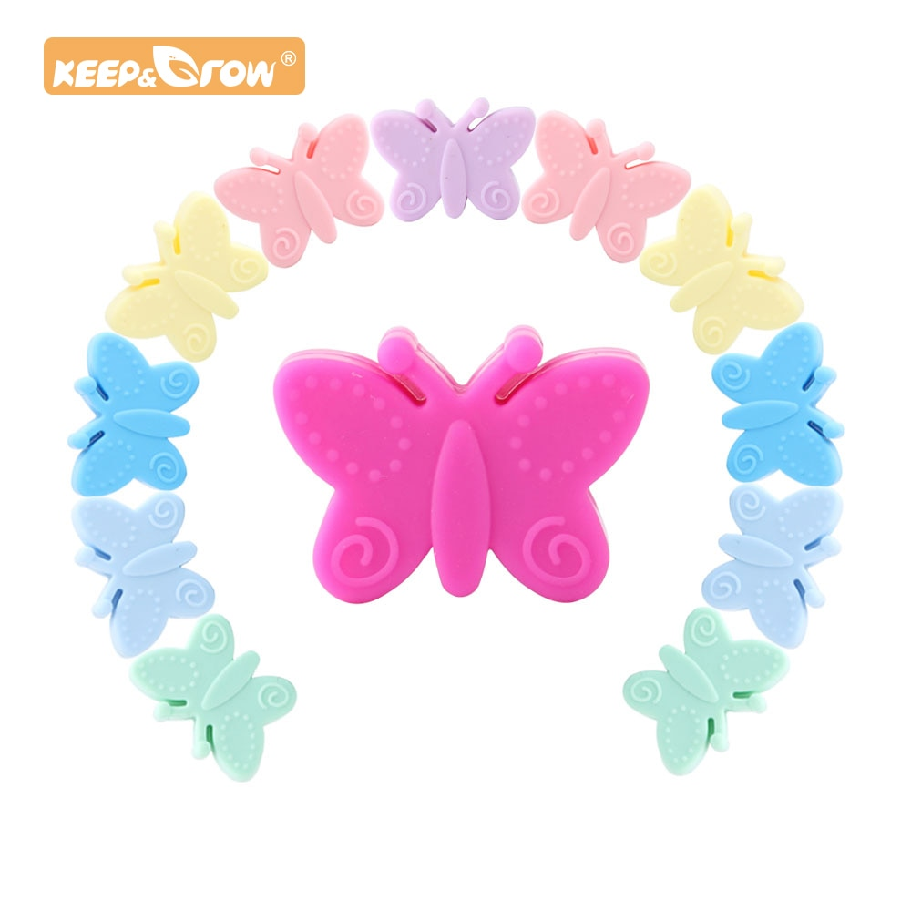 Keep&Grow 20pcs Butterfly Silicone beads Cartoon Baby Teethers BPA Free DIY Baby Stroller Making Beads Baby Teethers
