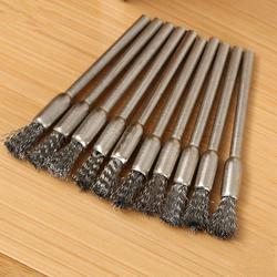 10 pçs fio escovas metal ferrugem ferramenta removendo rodas de fio de aço com haste pólo de fio de cobre plana rodas polimento escovas conjunto