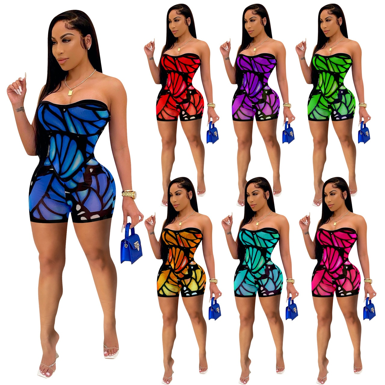 2021 European and American fashion hot style women's clothing printed skinny sexy suit jumpsuit