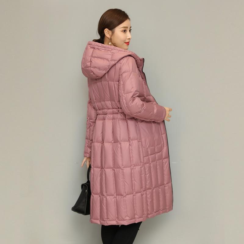 المرأة الشتاء سترة طويلة M-3XL حجم فضفاضة بلون خفيفة الوزن مقنعين الأبيض بطة أسفل جديد الراقية الوجهين معطف دافئ
