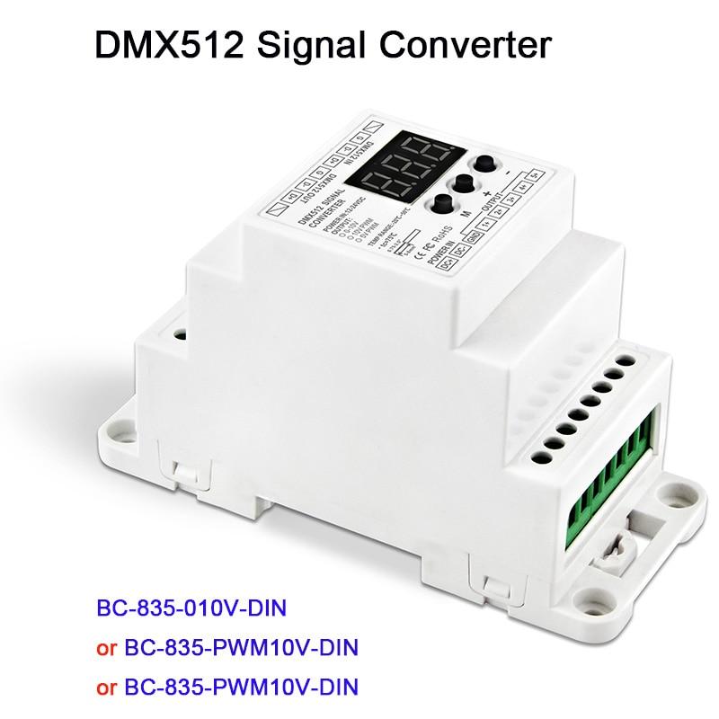 5CH led Din Rail DMX512/1990 signal to 0-10V or PWM 10V 5V signal converter DMX512 controller,DC12V-24V,BC-835-010V-DIN