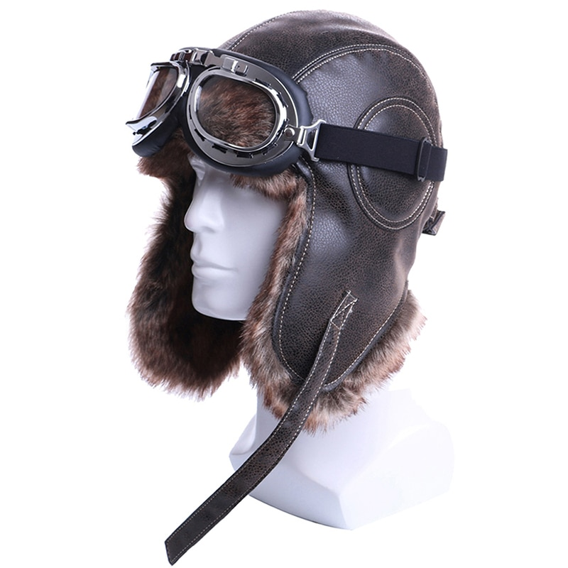 Winter Bomber Hats Plush Earflap Russian Ushanka with Goggles Men Women's Trapper Aviator Pilot Hat