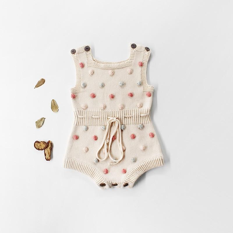 Estilo caliente 2020 hecho a mano de color Bola de Pelo de bebé niñas niños bebés de mono lana bolsa pedo-piezas suéter monos