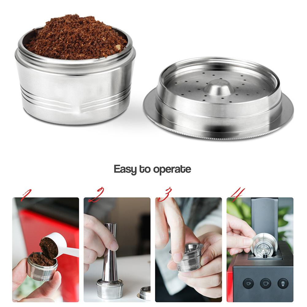 كبسولات قهوة قابلة لإعادة الملء 304 من الفولاذ المقاوم للصدأ ، فلاتر قهوة إسبرسو ، مجموعة كبسولات قهوة ، فلتر قابل لإعادة الاستخدام ، جراب قهو...