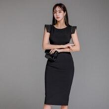 Elegant Party Dress Beading Black Sleeveless Bodycon Formal Pencil Dress Spring Summer 2020 Vestidos
