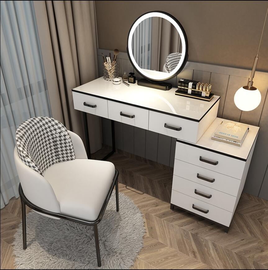 Скандинавский туалетный столик для спальни, современный простой красный туалетный столик с подсветильник кой, туалетный столик, шкафчик дл...