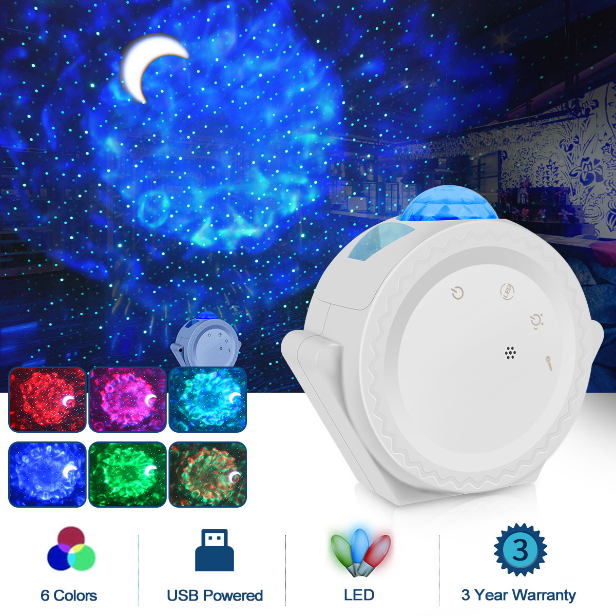 LED Star Projector Night Light Galaxy Starry 360 Degree Rotation Night Lighting Lamp Ocean Waving Night Lump For Kids Gift