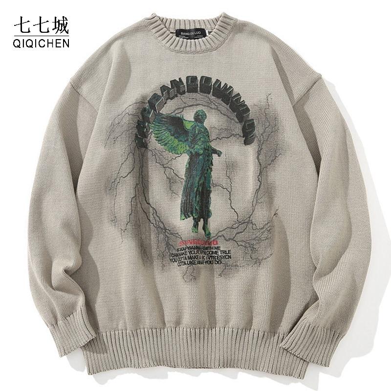 الخريف المتضخم محبوك البلوزات الرجال الهيب هوب الملاك البرق طباعة الشارع الشهير Harajuku الموضة عادية يسوع البلوز البلوفرات