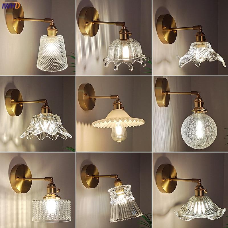 IWHD النحاس الزجاج خمر تركيبات إضاءة الجدار التبديل غرفة نوم مرآة حمام بجانب مصباح الشمال الحديثة الجدار الشمعدان الإضاءة LED