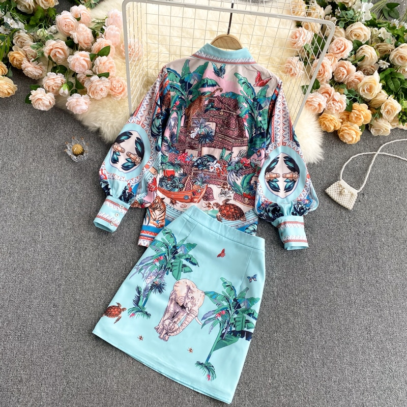 Wenfly النساء الطباعة قطعتين مجموعات بدوره إلى أسفل طوق واحدة الصدر فانوس كم قميص عالية الخصر ألف خط تنورة صغيرة Vintage