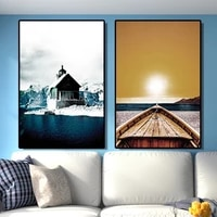 nordic modern canvas painting snow mountain house print poster seaside sunset sail art prints large wall decoration picture