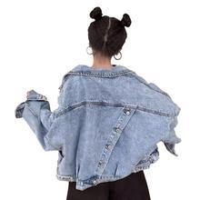 2019 autumn new short Denim jacket women coat fashion Back split Harajuku BF loose jeans jackets femme Streetwear style w848