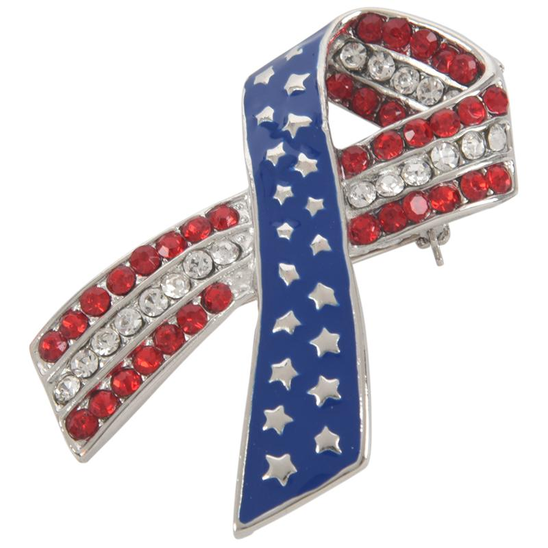 Diamond Rhinestone USA American Flag Ribbon Brooches Pins Patriotic Jewelry