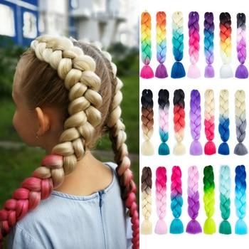 Miss Rola 100G 24 pouces unique Ombre couleur brillant pour cheveux en gros synthétique Extension de cheveux torsion Jumbo tressage cheveux