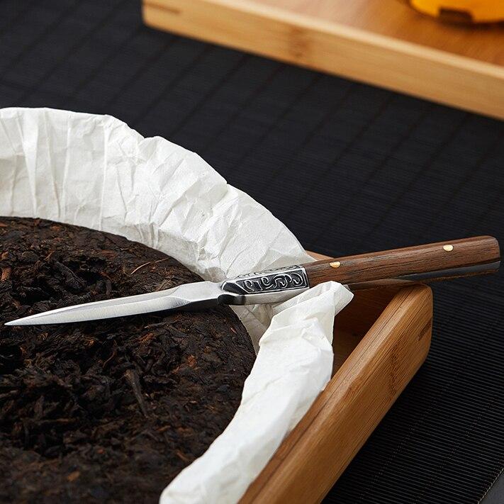سكين شاي صيني مصنوع يدويًا من خشب الصندل ، ملحق معدني لصنع الشاي ، سميك ، صناعة يدوية ، أخضر ، تشينو ، DG50TNC