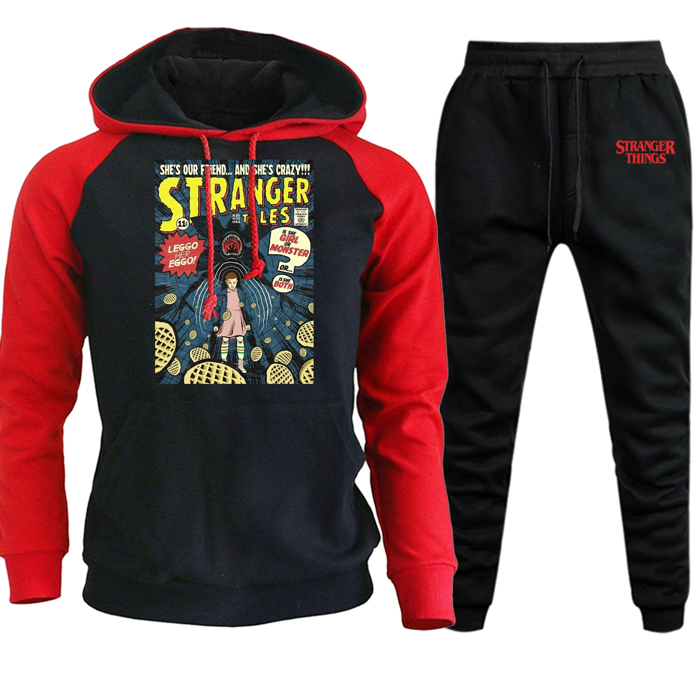 Stranger Things Autumn Winter New 2019 Mens Hooded Raglan Sweatshirts Suit Fashion Pullover Fleece Streetwear+Pants 2 Piece Set
